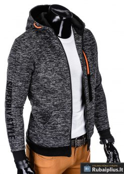 madingas Juodas vyriškas džemperis su gobtuvu