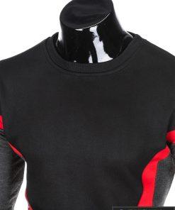 stilingas Juodas vyriškas džemperis suraudonomis detalėmis