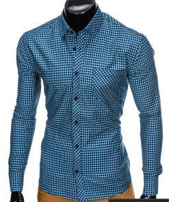 stilingi languoti Tamsiai mėlyni žali vyriški marškiniai ilgomis rankovėmis vyrams