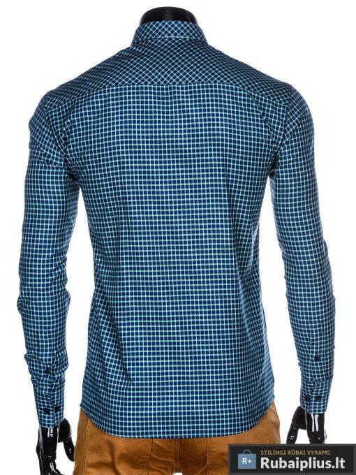 """stilingi languoti Tamsiai mėlyni žali vyriški marškiniai ilgomis rankovėmis vyrams """"Kventin"""" internetu pigiau"""
