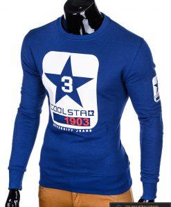 """stilingas Mėlynas vyriškas džemperis su aplikacija ir užrašais """"Coolsta"""" internetu pigiau"""