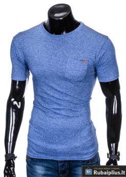 """Madingi mėlyni vyriški marškinėliai su kišenė ant krutinės """"Rush"""" internetu pigiau"""