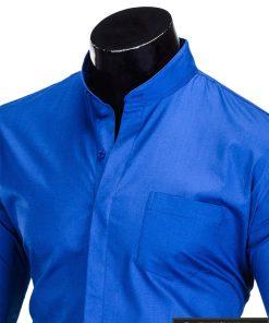 Stilingi mėlyni vyriški marškiniai ilgomis rankovėmis