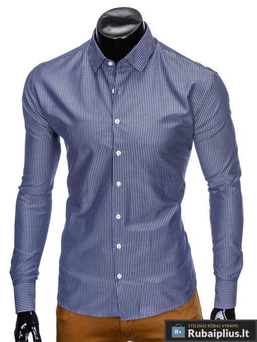 """klasikiniai Tamsiai mėlyni vyriški marškiniai ilgomis rankovėmis """"Tatum"""" internetu pigiau"""