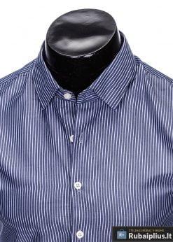 klasikiniai Tamsiai mėlyni vyriški marškiniai ilgomis rankovėmis
