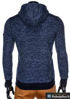 madingas Tamsiai mėlynas vyriškas džemperis su gobtuvu
