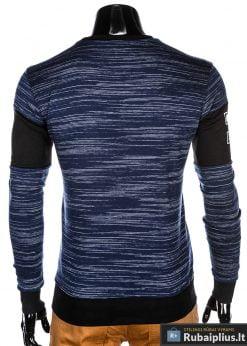 madingas Tamsiai mėlynas vyriškas džemperis su užrašais