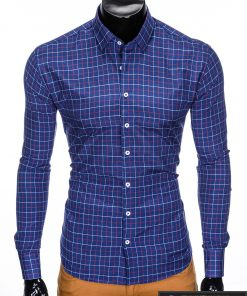 """stilingi Tamsiai mėlyni languoti vyriški marškiniai ilgomis rankovėmis""""Azino"""" internetu pigiau"""