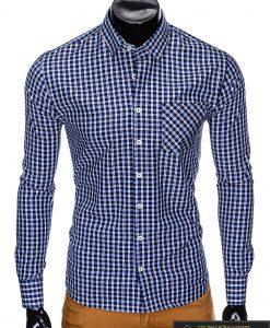"""stilingi Tamsiai mėlyni languoti vyriški marškiniai ilgomis rankovėmis""""Tol"""" internetu pigiau"""