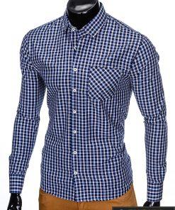 stilingi Tamsiai mėlyni languoti vyriški marškiniai ilgomis rankovėmis