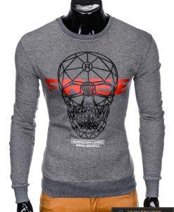 """Stilingas tamsiai pilkas su kaukolės aplikacija ir užrašais vyriškas džemperis """"Hoow"""" internetu pigiau"""