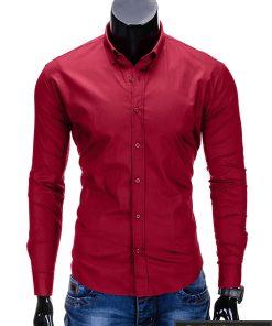 Klasikiniai tamsiai raudoni vyriški marškiniai ilgomis rankovėmis vyrams internetu pigiau K219TR priekis