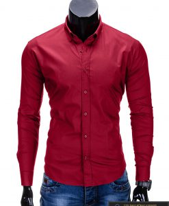 """klasikiniai Tamsiai raudoni vyriški marškiniai ilgomis rankovėmis vyrams """"Classic"""" internetu pigiau"""