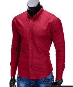 Klasikiniai tamsiai raudoni vyriški marškiniai ilgomis rankovėmis vyrams internetu pigiau K219TR kairė