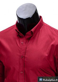 Klasikiniai tamsiai raudoni vyriški marškiniai ilgomis rankovėmis vyrams internetu pigiau K219TR apykaklė