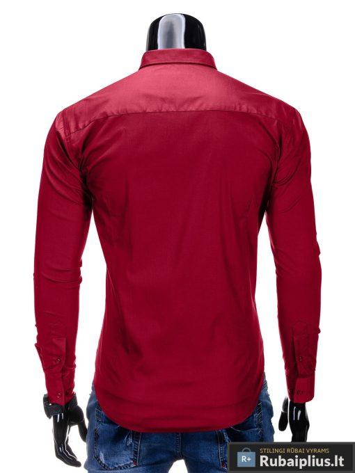 Klasikiniai tamsiai raudoni vyriški marškiniai ilgomis rankovėmis vyrams internetu pigiau K219TR nugara