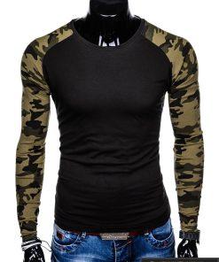 L107J, Juodi-kamufliažiniai vyriški marškinėliai ilgomis rankovėmis vyrams