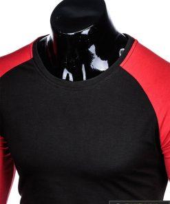 L109J, Juodi-raudoni vyriški marškinėliai ilgomis rankovėmis vyrams
