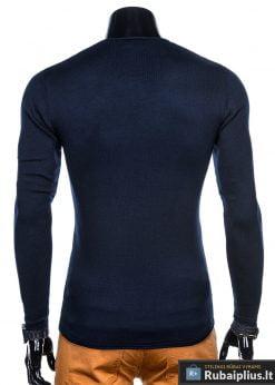 Madingas tamsiai mėlynas vyriškas megztinis vyrams