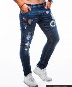 Vyriški MadingiMėlyni džinsai vyrams su aplikacijomis