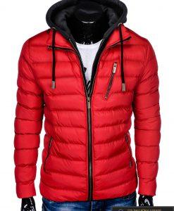 Raudona rudeninė-pavasarinė vyriška striukė vyrams Uffo internetu pigiau C384R priekis