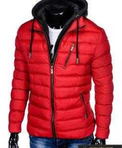 Raudona rudeninė-pavasarinė vyriška striukė vyrams Uffo internetu pigiau C384R kairė