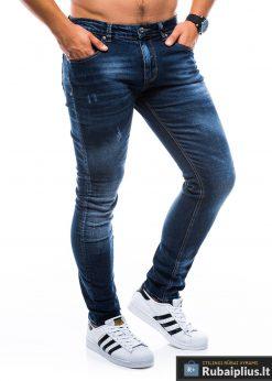 P750TM, stilingi vyriški siaurinti tamsiai mėlyni džinsai vyrams
