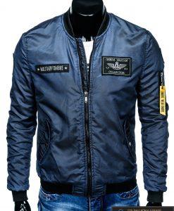 """stilinga Bomber stiliaus Tamsiai mėlyna rudeninė-pavasarinė vyriška striukė vyrams """"Darvin"""" internetu pigiau"""
