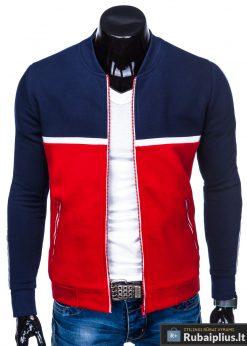 B704TM, Stilingas Tamsiai mėlynas-raudonas vyriškas džemperis vyrams