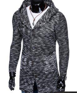 Stilingas kardiganas prailgintas tamsiai pilkas vyriškas megztinis