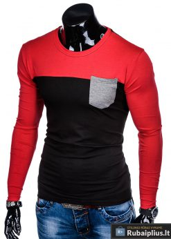 """L108J, Juodi-raudoni vyriški marškinėliai ilgomis rankovėmis vyrams """"Leur"""" internetu pigiau"""