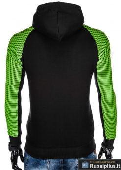 B820J, madingas Juodas vyriškas džemperis su gobtuvuvyrams