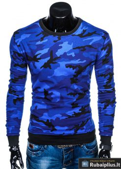 B885M, Stilingas Mėlynas kamufliažinisvyriškas megztinis dzemperis vyrams
