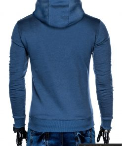 B873M, madingas Mėlynas vyriškas džemperis vyrams su gobtuvu