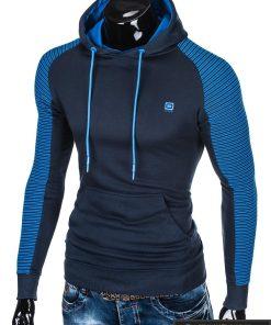 B821TM, madingas vyriškas Tamsiai mėlynas vyriškas džemperis su gobtuvu