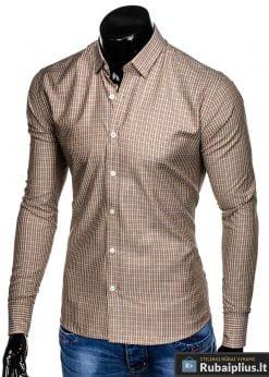 K437BEG, Klasikiniai šviesiai rudi vyriskilanguoti marškiniai vyrams ilgomis rankovėmis