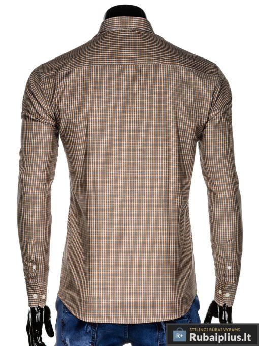 """K437BEG, Klasikiniai šviesiai rudi vyriskilanguoti marškiniai vyrams ilgomis rankovėmis """"Ramb"""" internetu pigiau"""