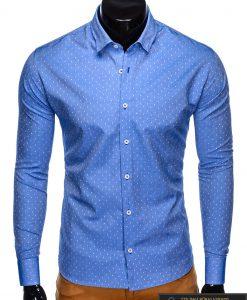 """K430M, Taškuoti mėlyni vyriški marškiniai ilgomis rankovėmis vyrams""""Frog"""" internetu pigiau"""