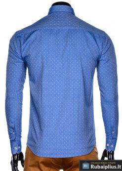 K430M, Taškuoti mėlyni vyriški marškiniai ilgomis rankovėmis vyrams