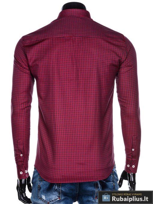 """K451R, stilingi viriski Raudoni languoti marškiniai vyrams ilgomis rankovėmis """"Ram"""" internetu pigiau"""