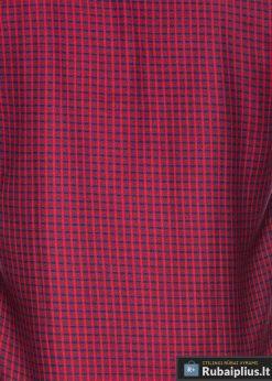 K451R, stilingi viriski Raudoni languoti marškiniai vyrams ilgomis rankovėmis
