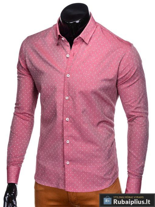 """K430R, Taškuoti raudoni vyriški marškiniai ilgomis rankovėmisvyrams """"Frog"""" internetu pigiau"""