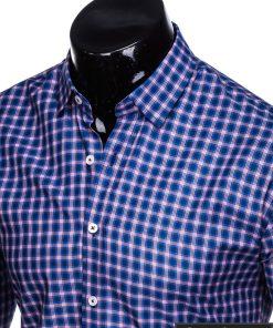 K438TMR, isskirtiniai stilingi Tamsiai mėlyni-raudoni vyriski languoti marškiniai vyrams ilgomis rankovėmis