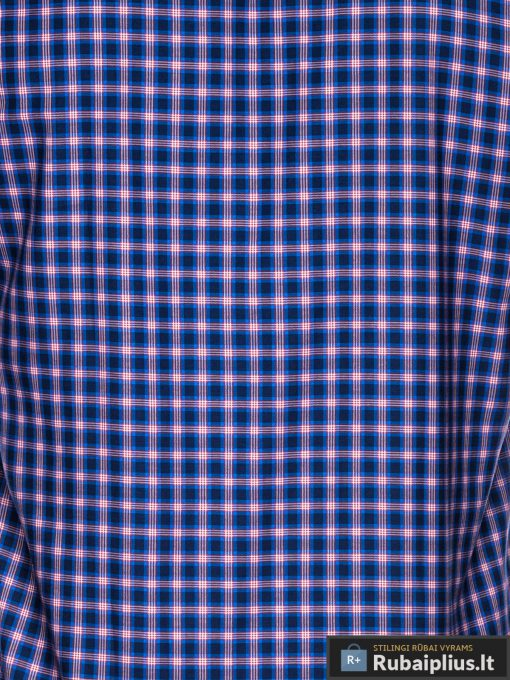 """K438TMR, isskirtiniai stilingi Tamsiai mėlyni-raudoni vyriski languoti marškiniai vyrams ilgomis rankovėmis """"Rumb"""" internetu pigiau"""