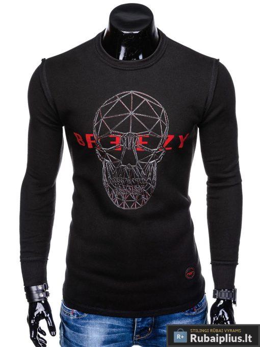 """stilingas ir madingas juodas vyriškas džemperis vyrams su kaukolės aplikacija ir užrašu """"Brez"""" internetu pigiau B907J"""