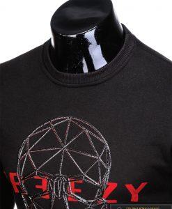 stilingas ir madingas juodas vyriškas džemperis vyrams su kaukolės aplikacija ir užrašu