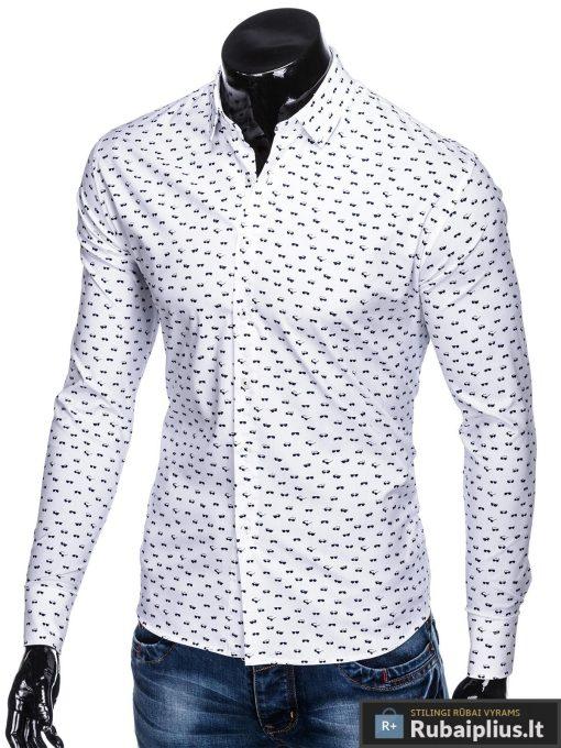 """K454B, madingi Balti vyriški marškiniai ilgomis rankovėmis originalus AKINIŲraštas """"Glasow"""" vyrams internetu pigiau"""