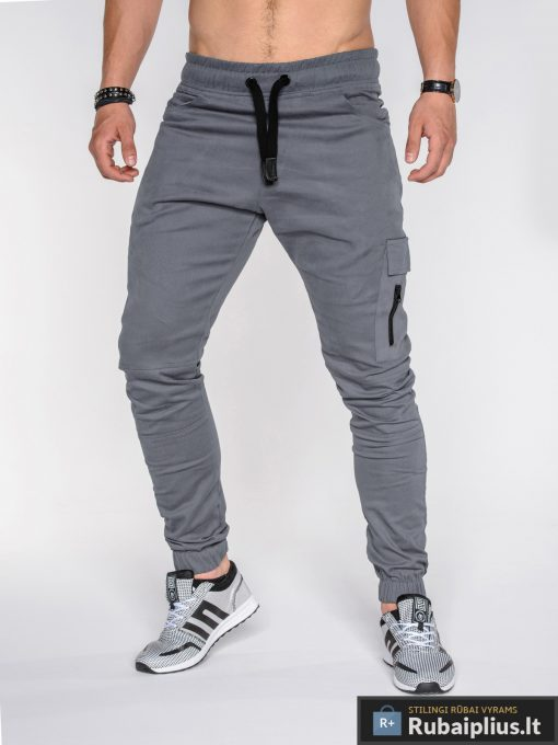 """madingos Pilkos vyriškos laisvalaikio kelnės vyrams """"Gibson"""" jogger stiliaus su kišenėmis internetu pigiau P391P"""