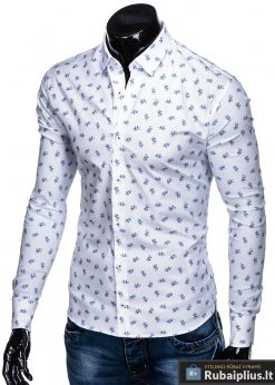 """K455B, Stilingi balti vyriški marškiniai ilgomis rankovėmis originalus dviračių raštas """"Bike"""" vyrams internetu pigiau"""