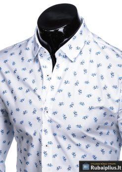 K455B, Stilingi balti vyriški marškiniai ilgomis rankovėmis originalus dviračių raštas